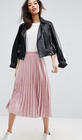 2017-03-08 14_01_40-ASOS Tall _ ASOS TALL Pleated Midi Skirt in Velvet